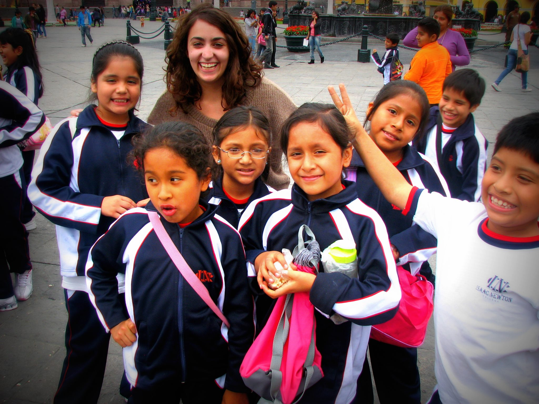 Alyson enjoying a Field day at a Peruvian school with students.