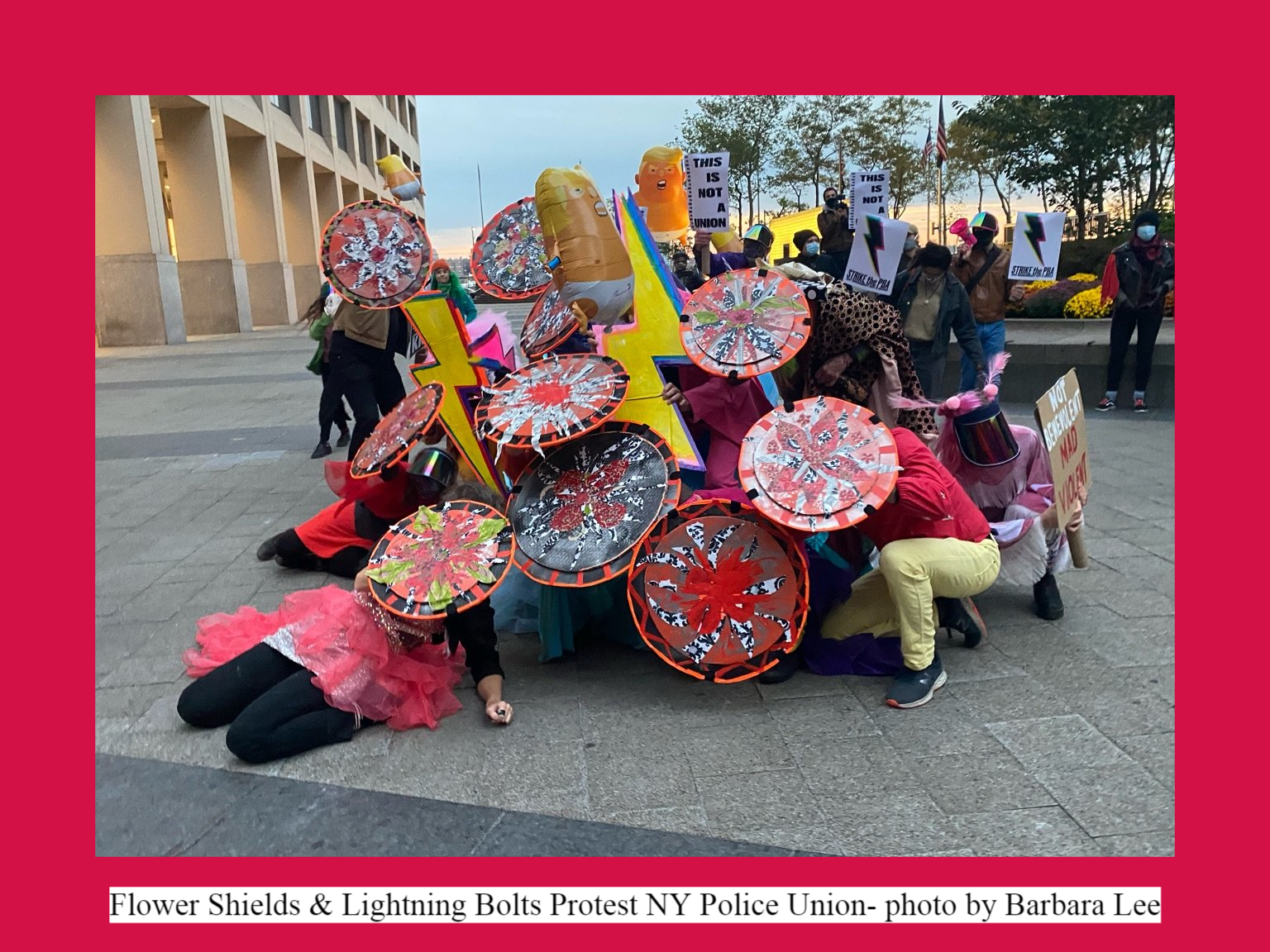 Flower Shields & Lightning Bolts Protest NY Police Union- photo by Barbara Lee