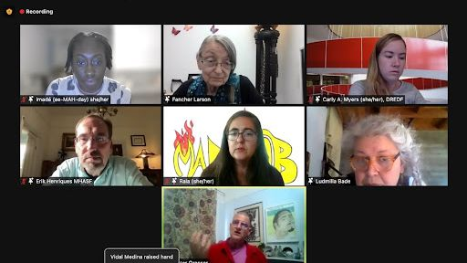 [Image Description: Screenshot of Mad Mob Toxic Conservatorship Forum on Zoom. Spotlighted on screen are: Imade Nibokun, Fancher Larson, Carly Myers, Erik Henriques, Raia Small, Ludmilla Bade, and Victor Gresser]