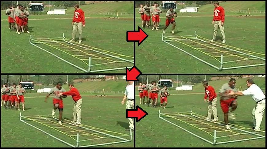 On-field drill demonstration: QBs, RECs, RBs, OL [20 minutes]