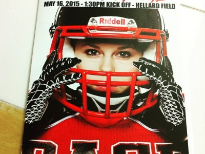 Woodroffe on the cover of the Calgary Rage program for their season opener (Photo credit: Candace Ward Photography)