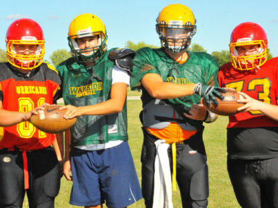 The Cayuga Warriors and Hagersville Hurricanes have combined football programs this season, but failed in their bid to participate in the Norfolk Secondary Schools Athletic Association. Pictured, team captains Ryan Clark, James Garrish, Ryan Macdonald and Cobourn Sands. JACOB ROBINSON/SIMCOE REFORMER
