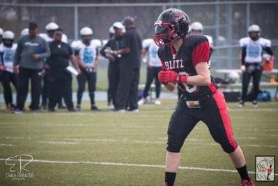 Chevrier in action with the Blitz during their IWFL years (Image supplied by Annabelle Chevrier)