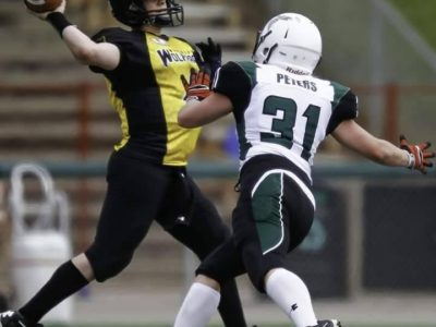 In action against the Saskatoon Valkyries (Image supplied by Clark)