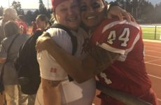 Iwaasa with Calgary Rage veteran Erin Walton (left) at the IFAF Women's Worlds in Vancouver (Image supplied by Wendy Iwaasa)