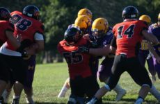 Joshua Carr (62) and Lucas Pyz with a devasting block in the Huronia Stallions win over the Cornwall Wildcats