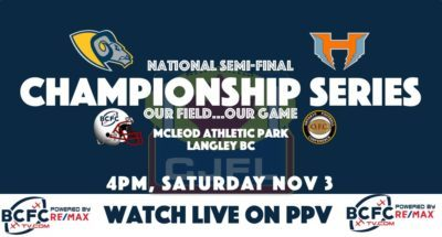 CJFL National Semi-Final: Hamilton Hurricanes vs. Langley Rams
