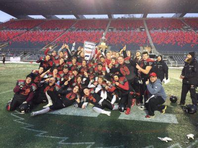 St. Ignatius Falcons celebrate 2018 OFSAA Metro Bowl victory (Courtesy: Twitter/TBCDSB_Ignatius