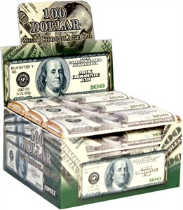 100 Dollar Bill Milk Chocolate Bars 24ct.