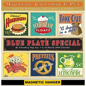 Retro Blue Plate Special 2009 Mini Magnetic Calendar (sold out)