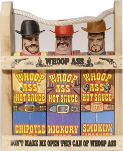 "Wooden Crate ""Whoop Ass"" Hot Sauce Gift Set"