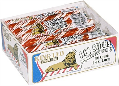 King Leo Big Sticks Peppermint Candy 36ct (DISCONTINUED)