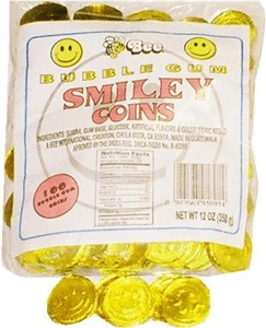 Bubble Gum Smiley Coins 100ct (discontinued)