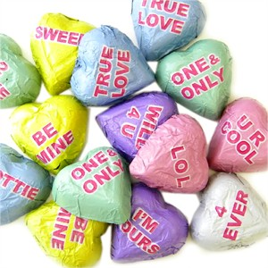 Chocolate Conversation Hearts 5LB