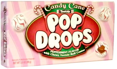 Candy Cane Tootsie Pop Drops Theater Box 3.5oz.