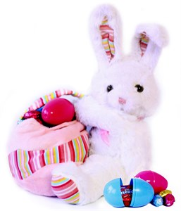 Easter Bunny with Chocolate and Candy Eggs