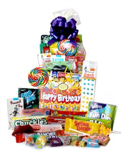 Happy Birthday Candles Retro Candy Gift Basket