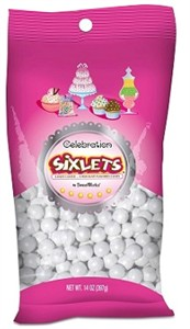 Celebration Sixlets - Shimmer White 14oz. Bag