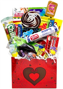 Big City Hearts Valentine Retro Candy Gift Basket