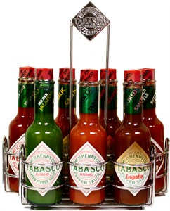 Tabasco Chrome Caddy with 7 Family Flavors