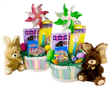 Colorful Easter Candy Gift Basket with Chocolate Scented Plush Bunny
