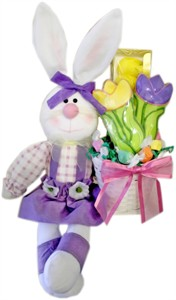 Plush Rabbit Sitting with Goodie Filled Basket (DISCONTINUED)