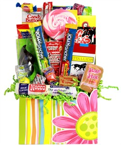 Floral Retro Candy  Gift Basket