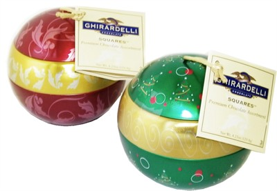 Ghirardelli Hanging Ornament Balls filled with Gourmet Chocolate 2pcs (DISCONTINUED)
