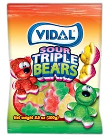 Gummy Sour Triple Bears 3.5oz.