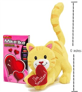 Smitten Kitten Plush Cat with Heart Candy