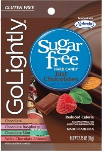 GoLightly Hard Candy Just Chocolates - Sugar Free - 2.75oz. Bag