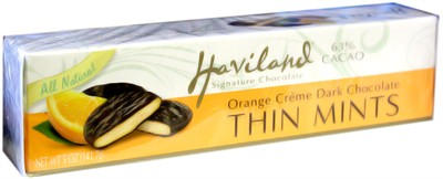 Haviland Orange Creme Dark Chocolate Thin Mints 5oz. (Sold out)