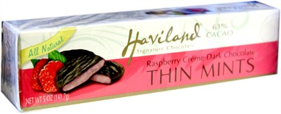 Haviland Raspberry Creme Dark Chocolate Thin Mints 5oz. (Sold Out)