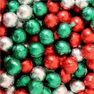 Christmas Cellophane Bag Filled with Foiled Chocolate Balls 1lb