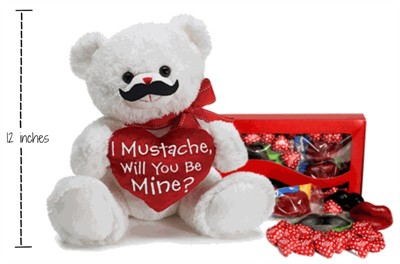 I Mustache, Will You Be Mine Plush Valentine Bear Candy Gift