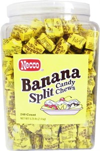Necco Banana Split Candy Chews Tub 240ct.