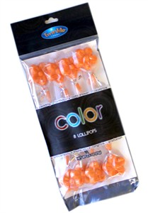 Twinkle Candy Color Flower Lollipops - Orange 8ct.