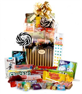 Black & Gold Pin Stripe Retro Candy Gift Basket