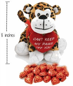 Can't Keep My Paws Off You Plush Leopard with Chocolate Hearts