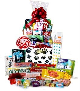 Paw Print Retro Candy Gift Basket