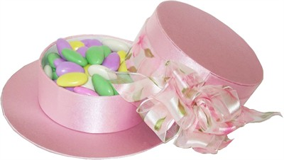 Pink Hat Gift Box with Jordan Almonds (DISCONTINUED)