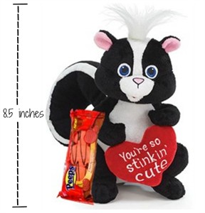 So Stinkin Cute Plush Skunk with Valentine Chocolate Peeps