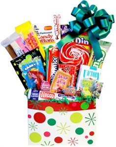Polka-Dots Stocking Retro Candy Gift Basket with Whirly Pop