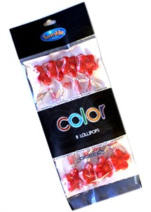 Twinkle Candy Color Flower Lollipops - Red 8ct.