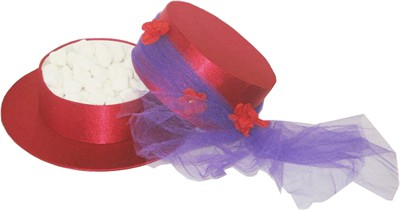 Red & Purple Hat Box Filled with Champagne Bubbles (DISCONTINUED)