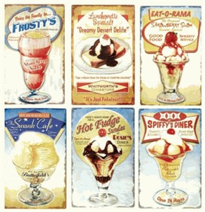 Retro Ice Cream Shoppe Tin Signs (SOLD OUT)
