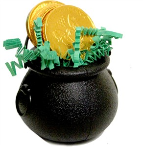 Saint Patricks Day Cauldron with Chocolate Coins