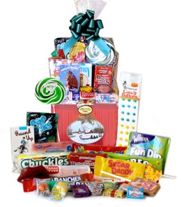 Home for the Holidays Retro Candy Gift Basket