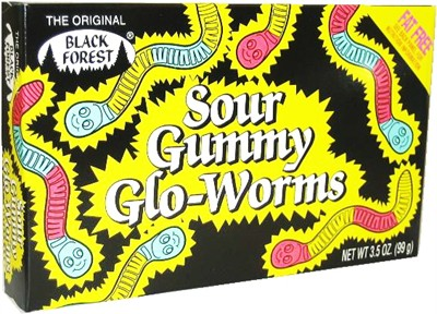 Sour Gummy Glo-Worms Theater Size 3.5oz. (DISCONTINUED)