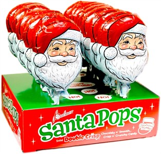 Solid Double Crisp Chocolate Santa Pops 18ct.